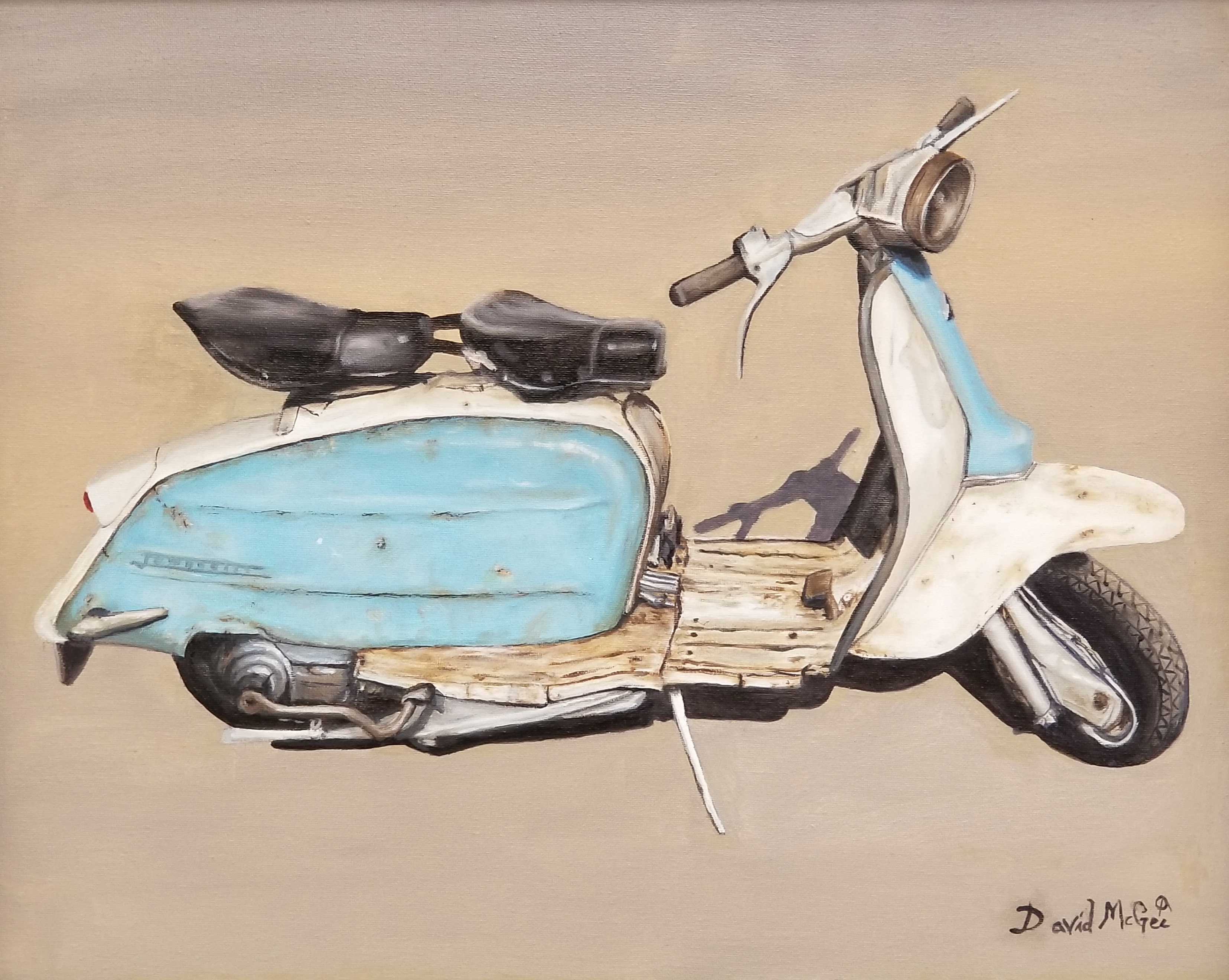 """Vespa"", oil on stretched canvas"