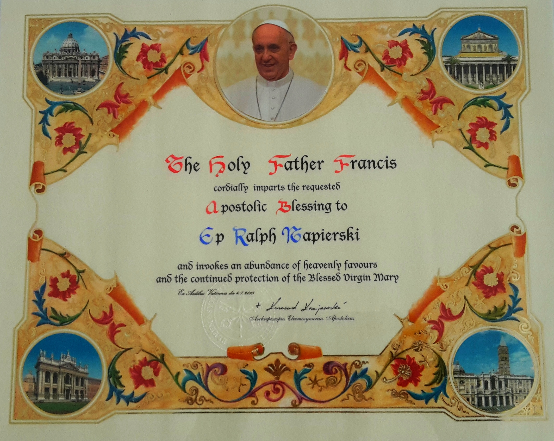 Blessing from Pope Francis
