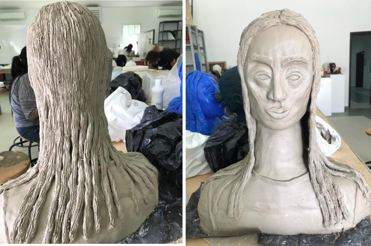 ME, 2019.  An abstract self-portrait sculpture made out of ceramic clay.