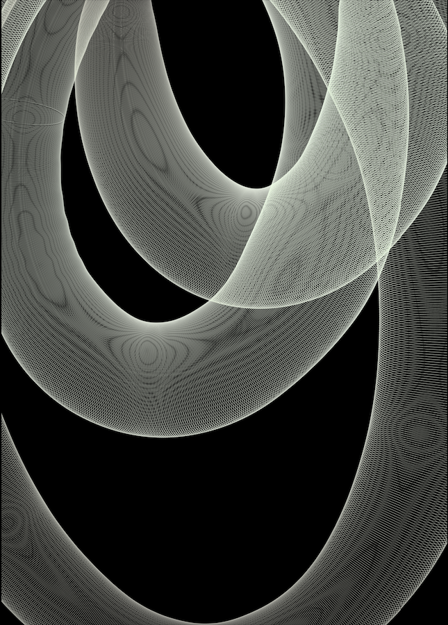 CONNECTION 3/4, 2021. This series of digital artworks were created on Procreate, inspired by generative and new media art. These abstract shapes and hollow openings are supposed to remind the viewer of connectivity and communication - especially when two figures are overlapping and so are their respective lines. When seen as four different parts put together, this ten-piece series starts to form a narrative about how we connect, intertwine, get attached, lose connections, and then are left by ourselves.