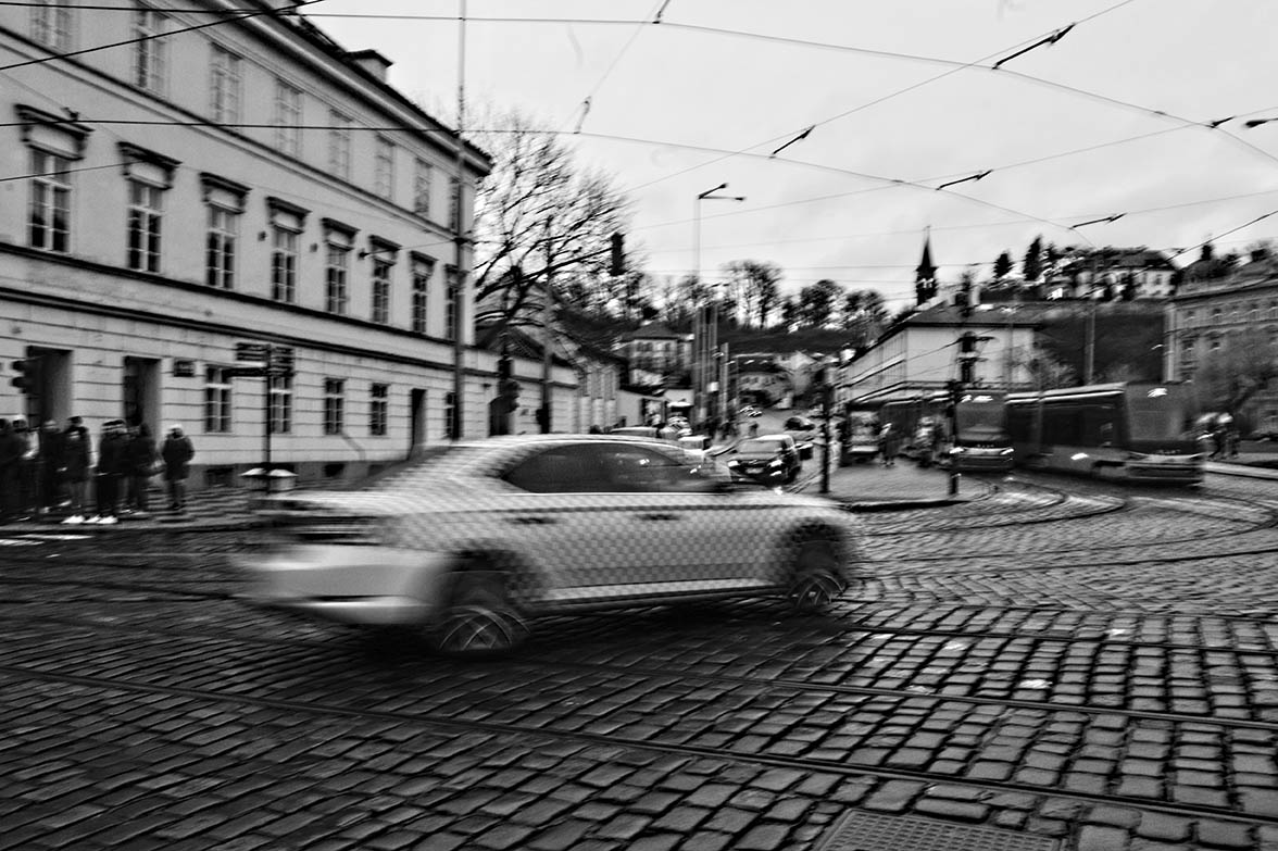 """COVID-19 SERIES, I.  """"The beginning of the pandemic; everyone rushing to go home"""", Prague, Czech Republic, 2020."""